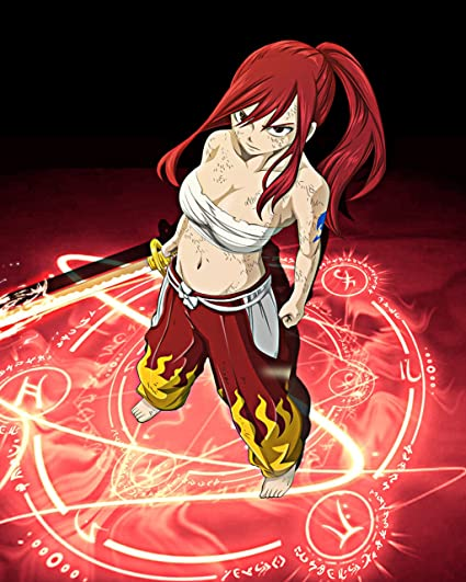 Amazoncom Fairy Tail Poster Erza Scarlet Anime Japanese Wall Print