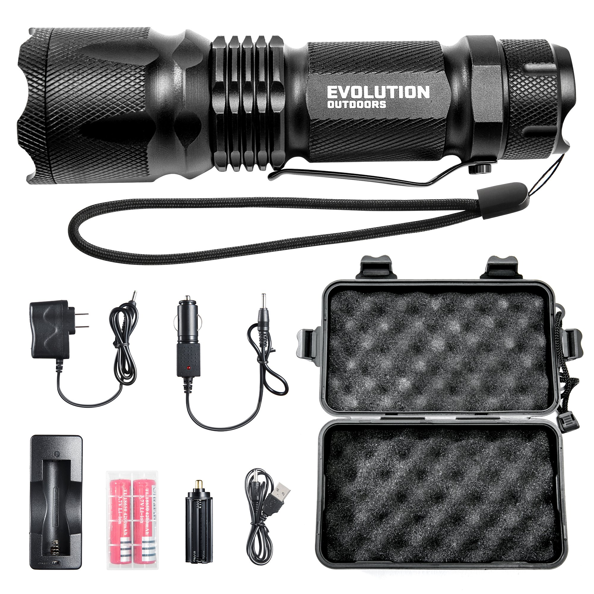 EVOLUTION OUTDOORS Military Tactical LED Flashlight - Bright 800 Lumens LED Torch Flashlight with 18650 Rechargeable Battery and Charger and AAA Battery Holder for Work, Car, Flashlights - 5 Modes