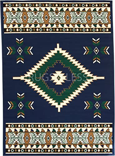 Rugs 4 Less Collection Southwest Native American Indian Area Rug Navajo Design R4L SW2 in Navy Blue 5 x7