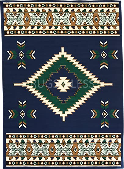 Native American Indian Print Black Round Throw Blanket Southwest Design