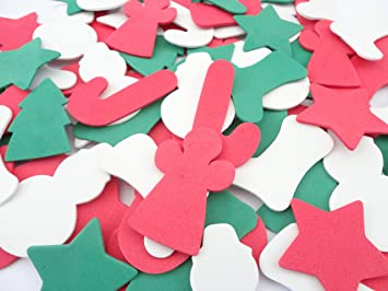 50 x assorted foam christmas shapes arts craft xmas decoration