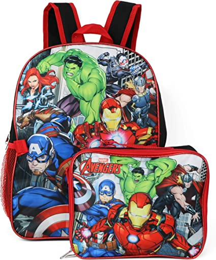 Marvel Avengers Backpack With Detachable Lunch Box (Avengers Red Black)