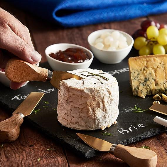 VonShef - Juego de queso bandeja y accesorios para salsas con bandeja de pizarra para quesos con cuchillos de oro de acero inoxidable y cerámica - cuenco ...