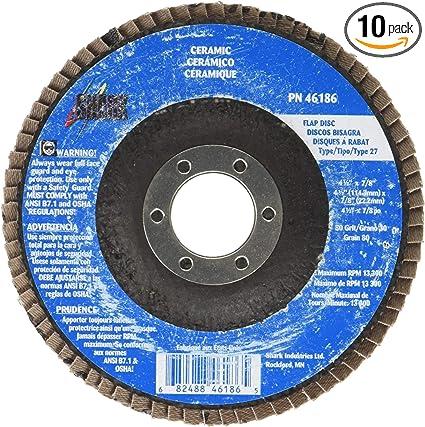 80 Grit Shark 46187 4.5 x7//8 Ceramic Abrasive Flap Discs Type 27 10-Pack