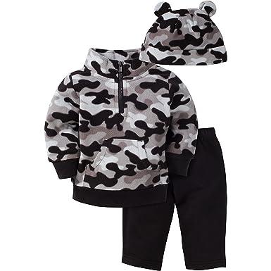 Gerber Boys' 3 Piece Micro Fleece Top Cap and Pant Set, Black Camo, 6-9 Months