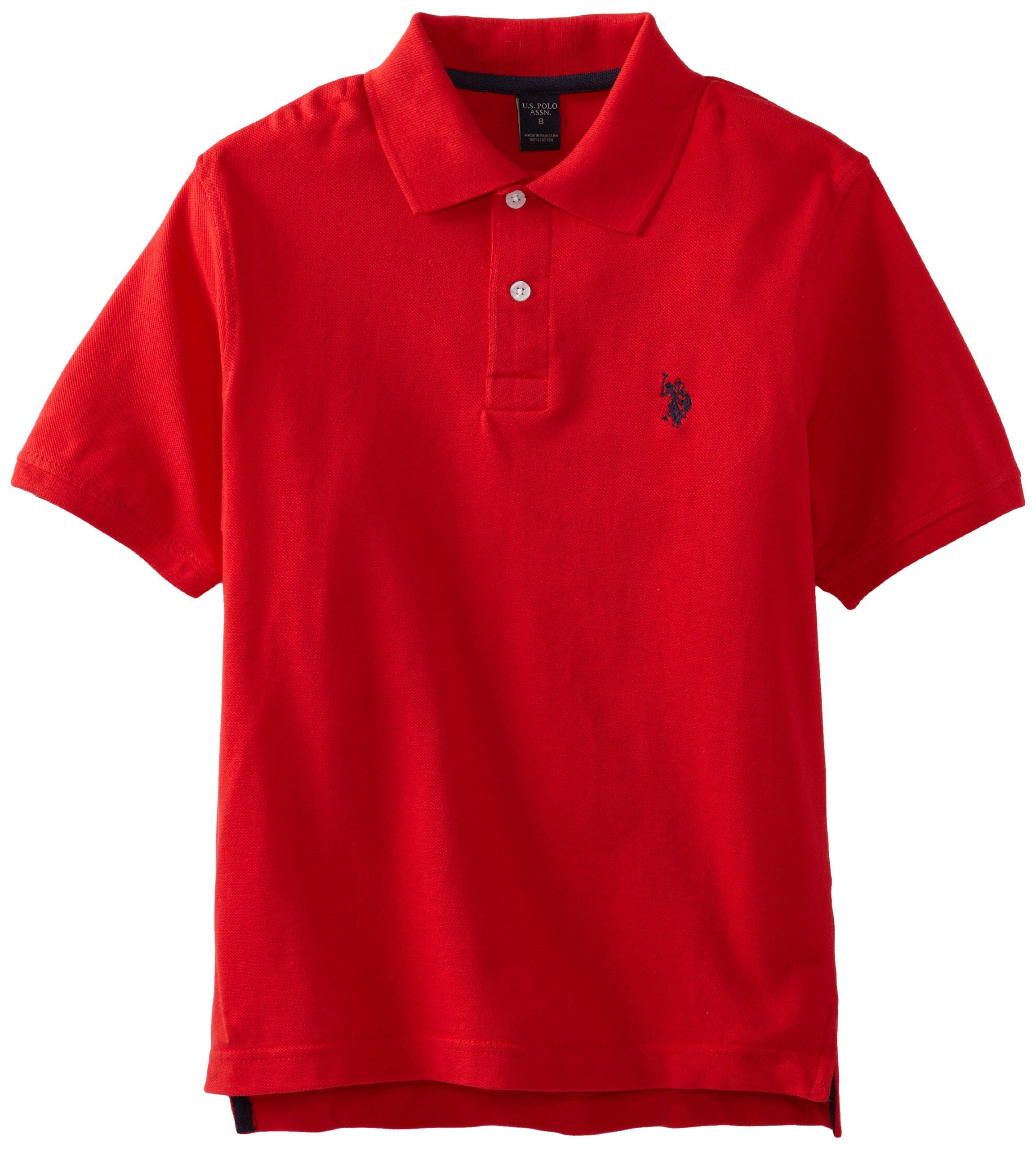 U.S. Polo Assn. Boys' Classic Polo Shirt, Engine Red, 14/16