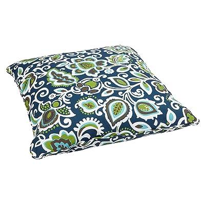Mozaic AZPS2070 Indoor Outdoor Square Floor Pillow with Corded Edges, 26 x 26, Navy/multi : Garden & Outdoor