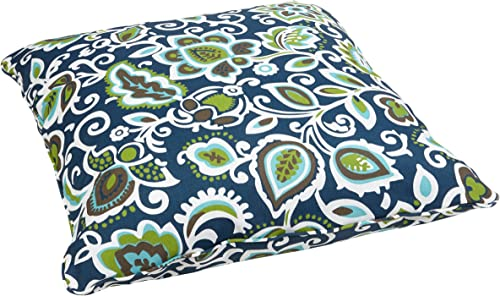 Mozaic AZPS2070 Indoor Outdoor Square Floor Pillow with Corded Edges, 26 x 26, Navy multi