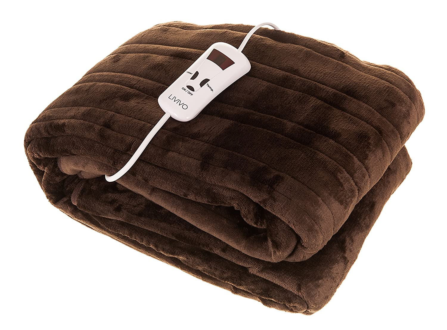 FINEWAY@ HEATED ELECTRIC OVER BLANKET – ULTRA SOFT CHOCOLATE MICRO FLEECE THROW WITH 10 HEAT SETTINGS AND TIMER FUNCTION – SIZE 160X120CM - EASY TO USE AND MACHINE WASHABLE