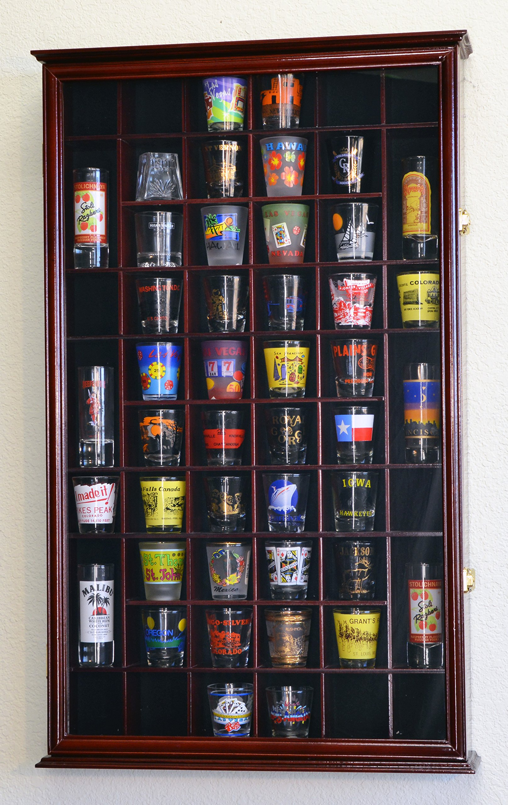 54 Shot Glass Shooter Display Case Holder Cabinet Wall Rack w/ UV Protection -Cherry by sfDisplay.com, Factory Direct Display Cases (Image #2)