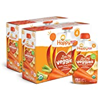 Happy Tot Organic Stage 4 Baby Food Love My Veggies Carrot Banana Mango & Sweet Potato, 4.22 Ounce Pouch (Pack of 16) (Packaging May Vary)