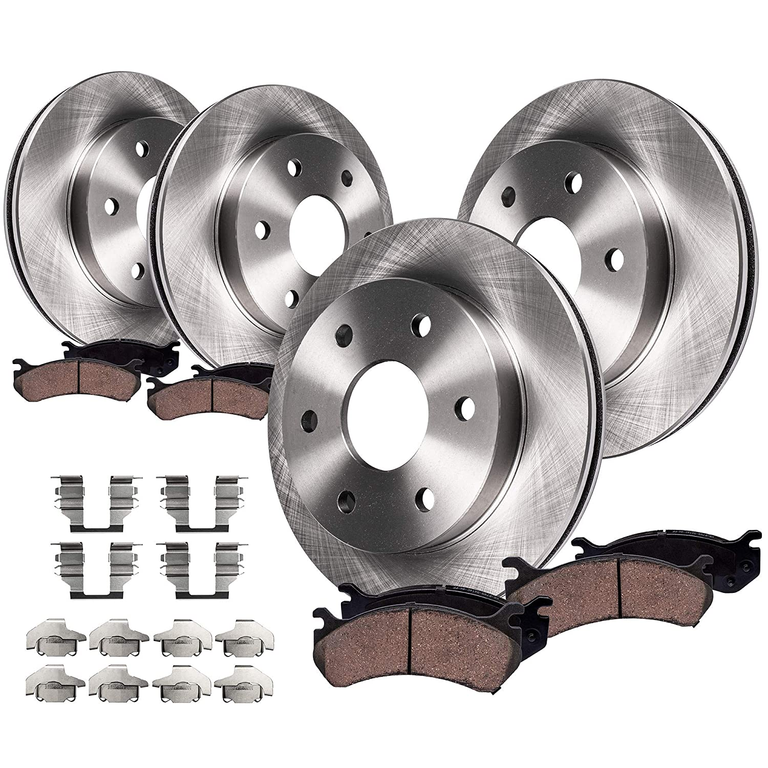 Chevy Tahoe//Yukon - Dual Piston Rear Calipers Detroit Axle 330mm 6-Lug FRONT /& REAR Brake Rotors /& Ceramic Brake Pads w//Hardware fits GMC Sierra /& Silverado 1500 -