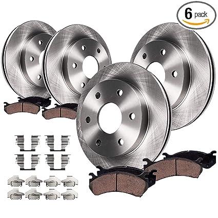 Detroit Axle - FRONT & REAR Brake Rotors & Ceramic Brake Pads w/Hardware  for 5-Passenger V6 Chevy Trailblazer & GMC Envoy & Olds Bravada, Isuzu