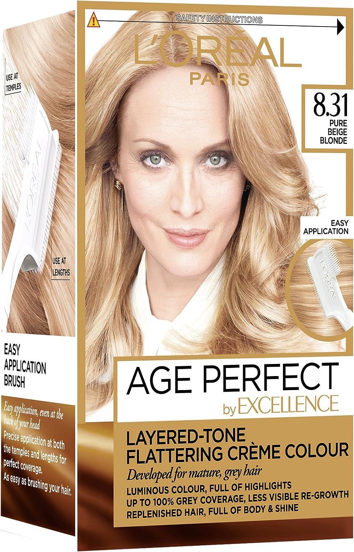 Tinte para cabello LOreal Paris Excellence Age Perfect, tono 10.03 rubio dorado muy claro