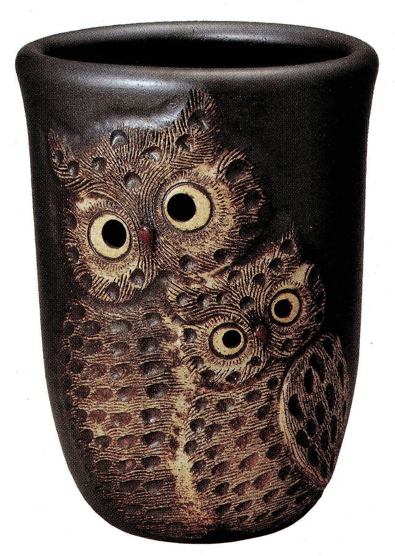信楽焼陶器 傘立 黒マットペアふくろう透し彫傘立 高さ48.0cm 7123-03 B00D0JSV2M