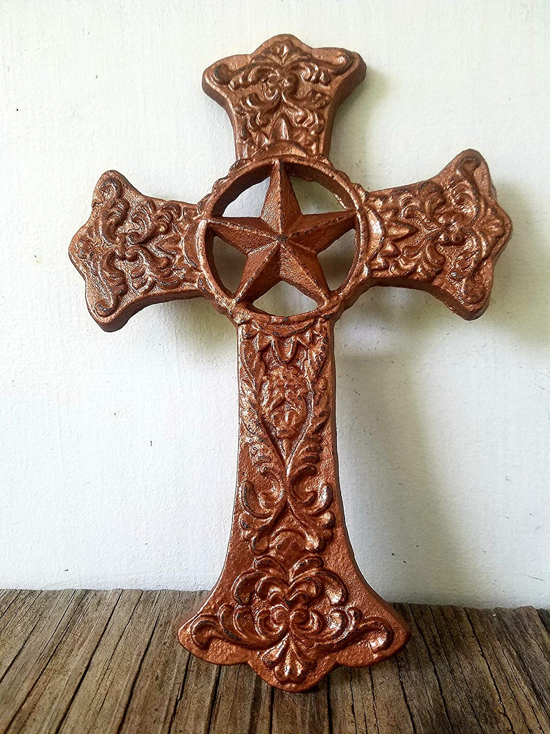 Metallic Copper Star Cross – Decorative Wall Hanging – Texas – Christian - Religious