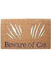 """Abbott Collection Coir """"Beware of Cat"""" Doormat"""