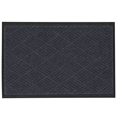 """Ottomanson Rubber Collection Doormat, 18"""" X 30"""", Charcoal by Ottomanson"""