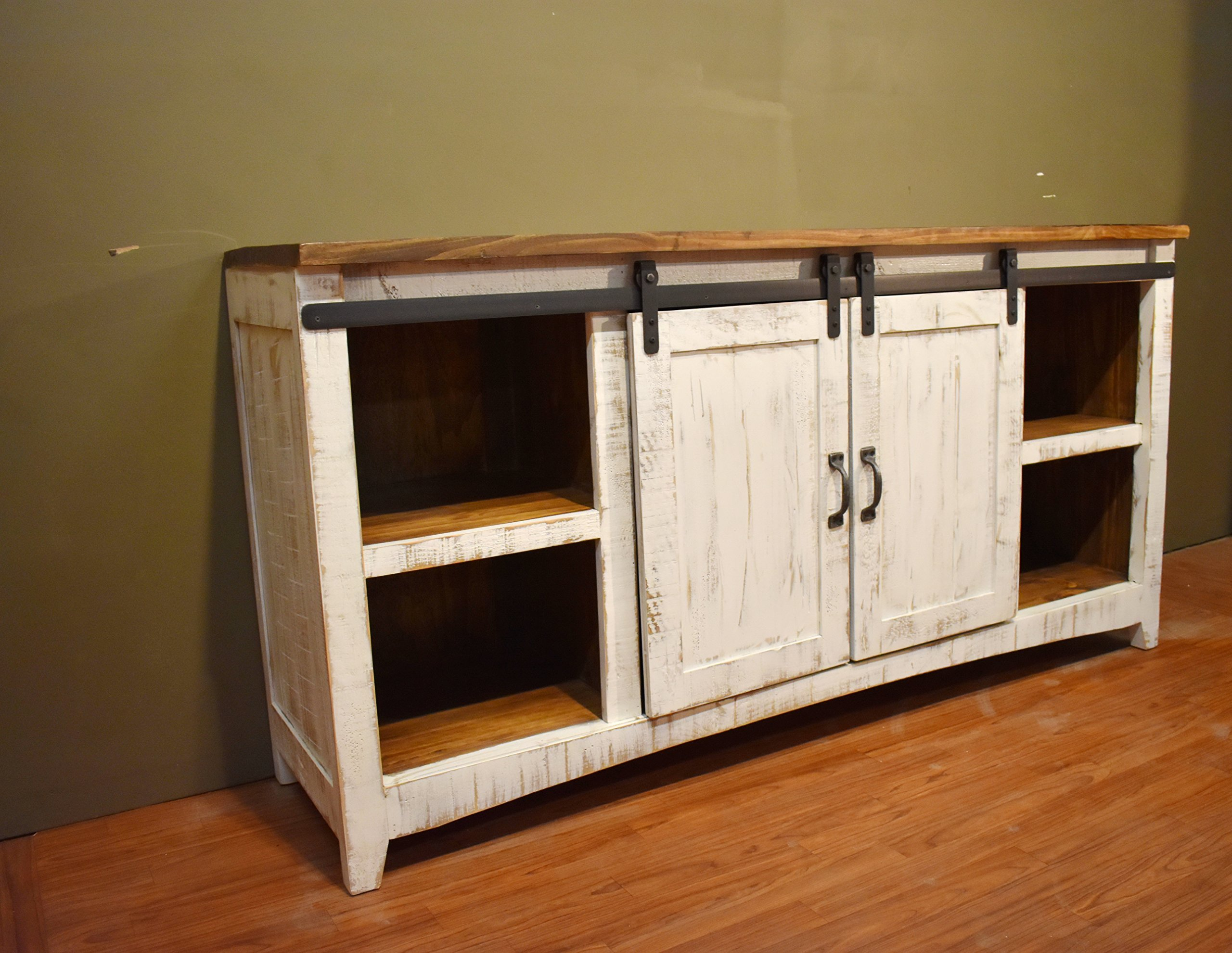 Crafters and Weavers Granville White 67'' TV Stand / Sideboard / Console Table with Sliding Barn Doors by Crafters and Weavers (Image #6)