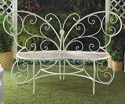Terrific Amazon Com Butterfly Lover Gifts Butterfly Bench White Machost Co Dining Chair Design Ideas Machostcouk