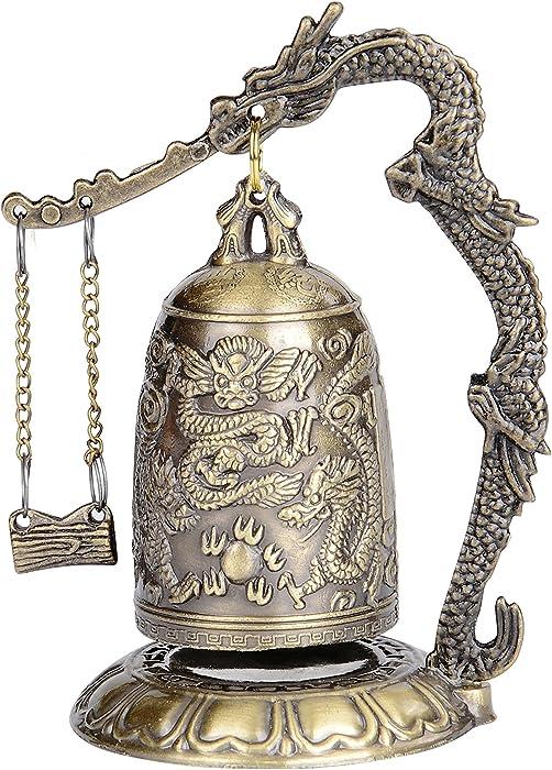 I-MART Asian Oriental Zen Art Brass Desks Desktop Dragon Chinese Gong