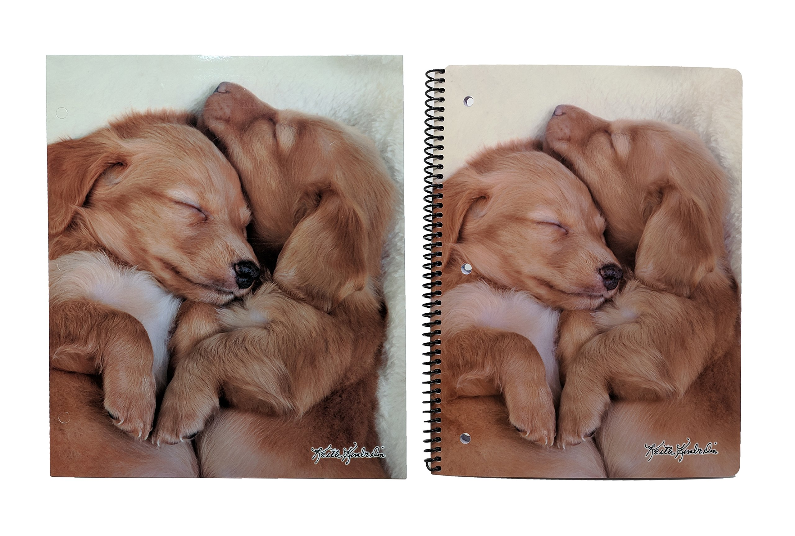 Cute Puppy Or Kitten Back to School Set – Pocket Folder and Composition Notebook (Dachshund Pups)