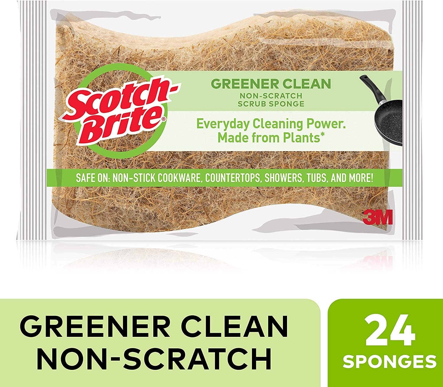 Scotch-Brite Greener Clean Natural Fiber Non-Scratch Scrub Sponge, Everyday Cleaning Power. Made from Plants, 24 Scrub Sponges
