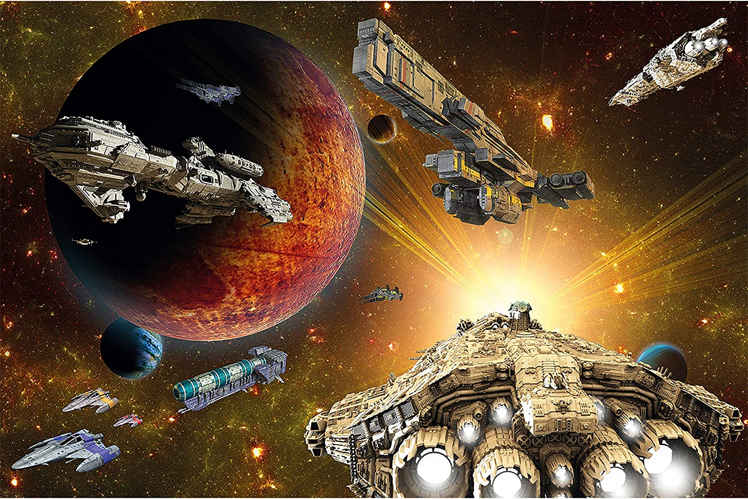 GREAT ART Poster – Galaxy Adventure – Picture Decoration Space Flight Mission Outer Space Shuttle Galactic Exploration Spaceship Universe Image Photo Decor Wall Mural (55x39.4in - 140x100cm)