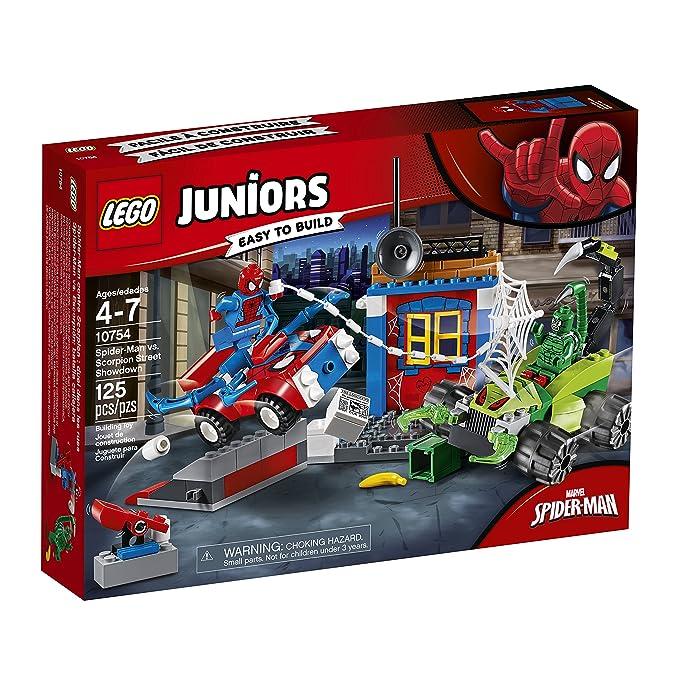 LEGO Juniors - Spider-Man VS Escorpión: Batalla Callejera, Juguete de Super Héroes con Coches para Crear y Construir, Incluye Minifiguras y Accesorios ...
