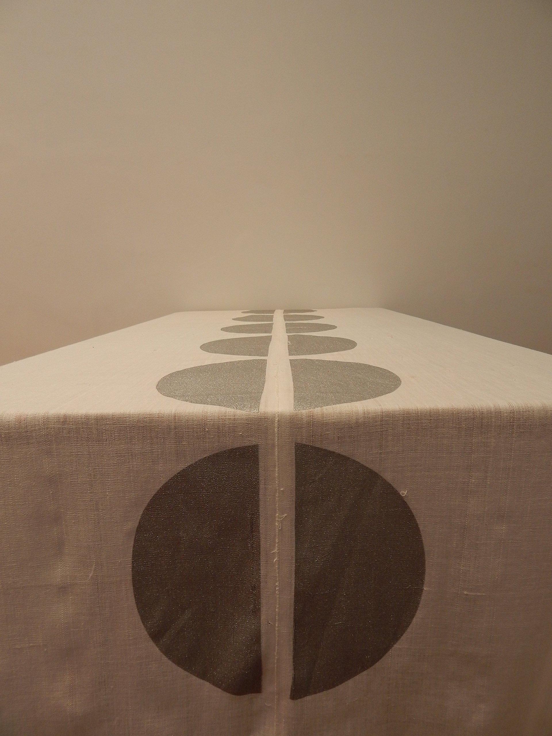 Gitika Goyal Home Cotton Khadi Silver Screen Printed Tablecloth with Dot Design, White, 72'' x 72''