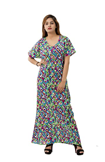 312b2554f1 Buy Women s Girls Ikat Print Multi Color Soft Cotton Nighty Nightdress Night  Gown Sleepwear By Handicraft-Palace Online at Low Prices in India -  Amazon.in