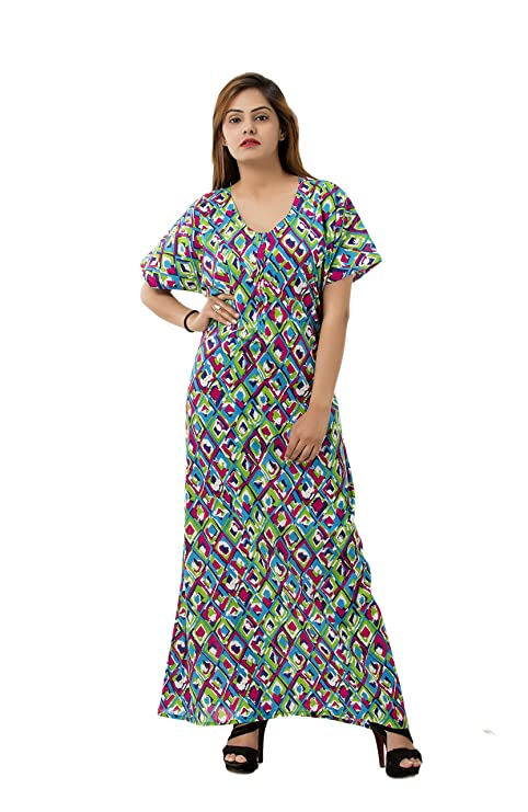 3bbd8ffadc Buy Women s Girls Ikat Print Multi Color Soft Cotton Nighty Nightdress Night  Gown Sleepwear By Handicraft-Palace Online at Low Prices in India -  Amazon.in
