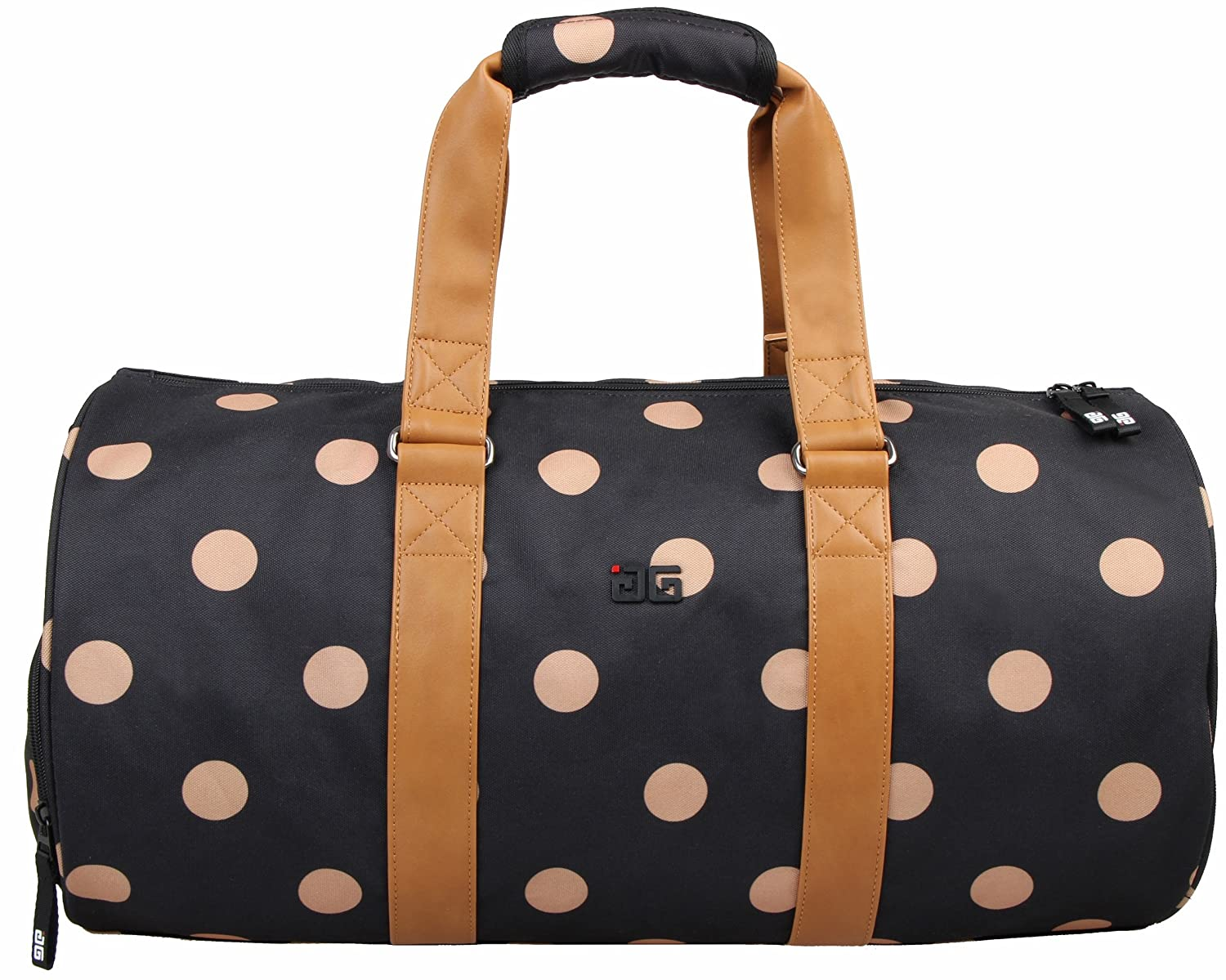 AfterGen City Sports Duffel V3 Shoe Compartment Weekender Carry On, Black Polka Dot