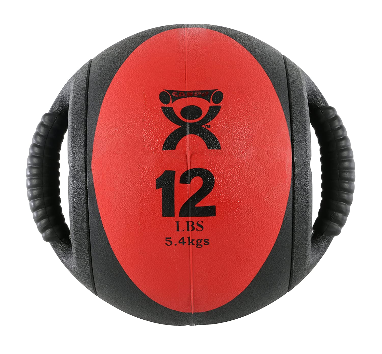 CanDo Dual-Handle Medicine Ball – 9 Diameter – Red – 12 lb