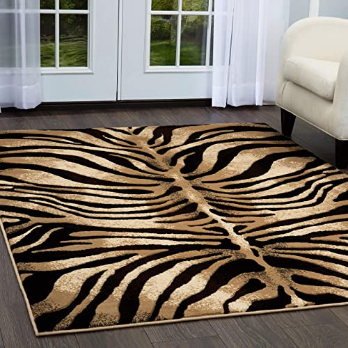 Home Dynamix Tribeca Fawn Area Rug 7 10 x10 6 , Animals Black Ivory