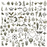 100g (About 100pcs) Craft Supplies Small Antique Silver Charms Pendants for Crafting Jewelry Findings Making Accessory for DIY Necklace Bracelet (Antique Silver Charms)