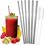 Stainless Steel Reusable Straws Set and Cleaning Brushes - Includes 3 Wide Metal Smoothie Straws, 3 Regular Size Steel Straws + 2 Sizes of Reusable Straw Cleaners, Eco-Friendly by ReelSteel (Straight)