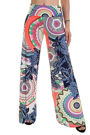 d0ad4dbd48 finest uptown apparel womens fold over waist wide leg boho print palazzo  pants good for tall with como doblar un pantalon.