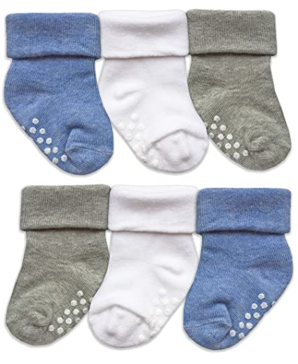 d408411c36be2 Amazon.com: Jefferies Socks Toddler Non Slip Turn Cuff Cotton Socks 6 Pair  Pack: Clothing