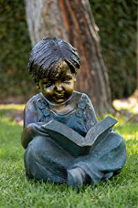 Alpine Boy Sitting Down Reading Book Statue, 19 Inch Tall