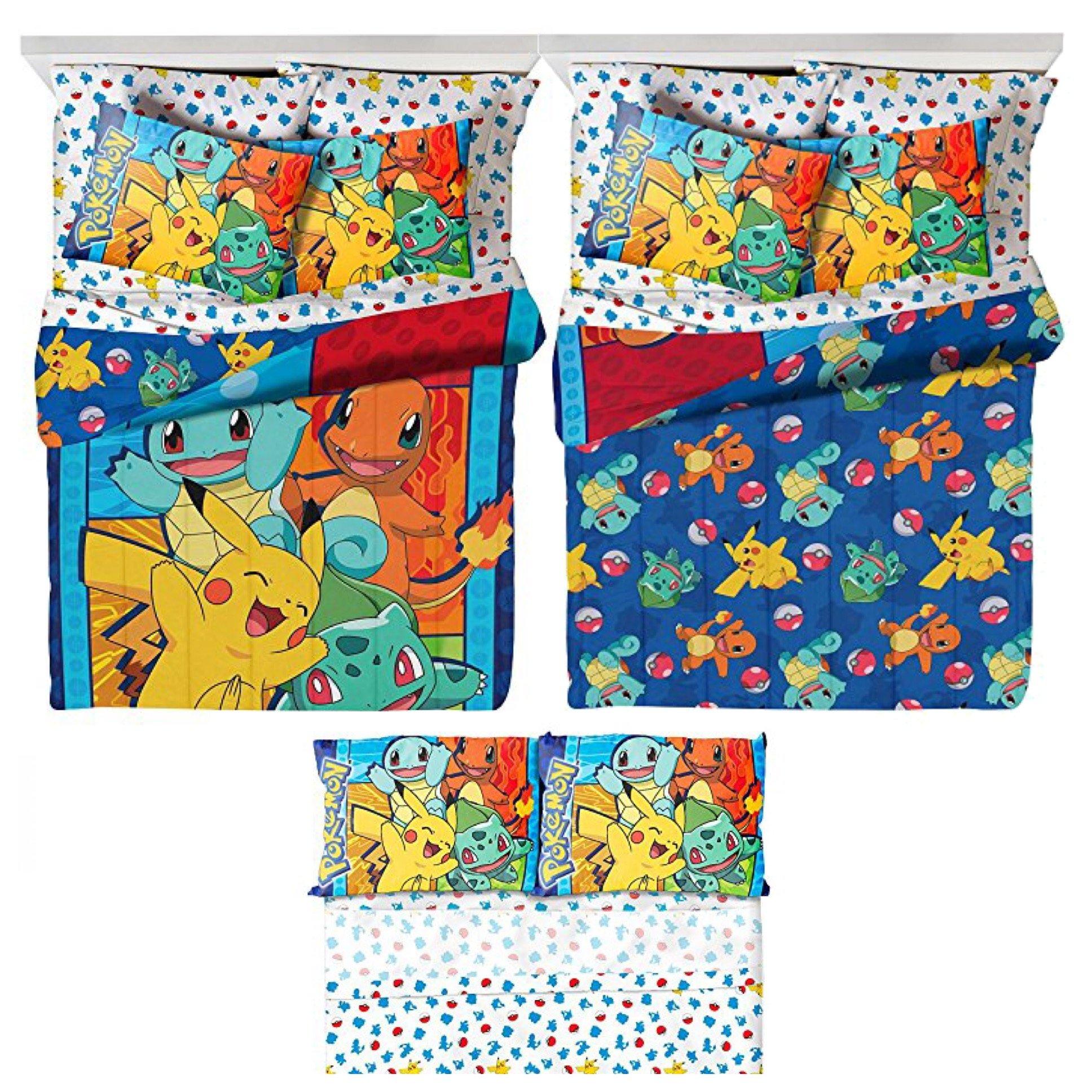 Pokémon 5 Piece Kids Full Bedding Set - Reversible Comforter, Sheet Set with 2 Reversible Pillowcases