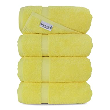 SALBAKOS Luxury Hotel & Spa Turkish Cotton 4-Piece Eco-Friendly Bath Towel Set 27 x 54 Inch, Yellow