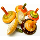 Lot of 6 pcs Handmade Painted Wood Spinning Tops Wooden Toys Vintage India Craft by AzKrafts