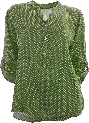 Moda Italy - Camisas - corte imperio - Lunares - cuello mao - Manga Larga - para mujer verde 44: Amazon.es: Ropa y accesorios