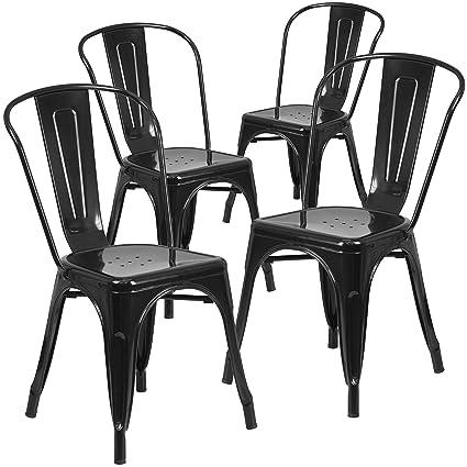 Superbe Flash Furniture 4 Pk. Black Metal Indoor Outdoor Stackable Chair