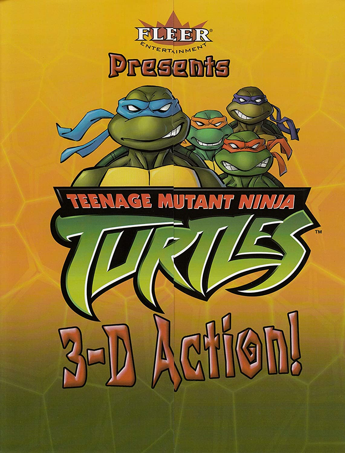 TEENAGE MUTANT NINJA TURTLES 3-D ACTION FLEER TRI-FOLD ...