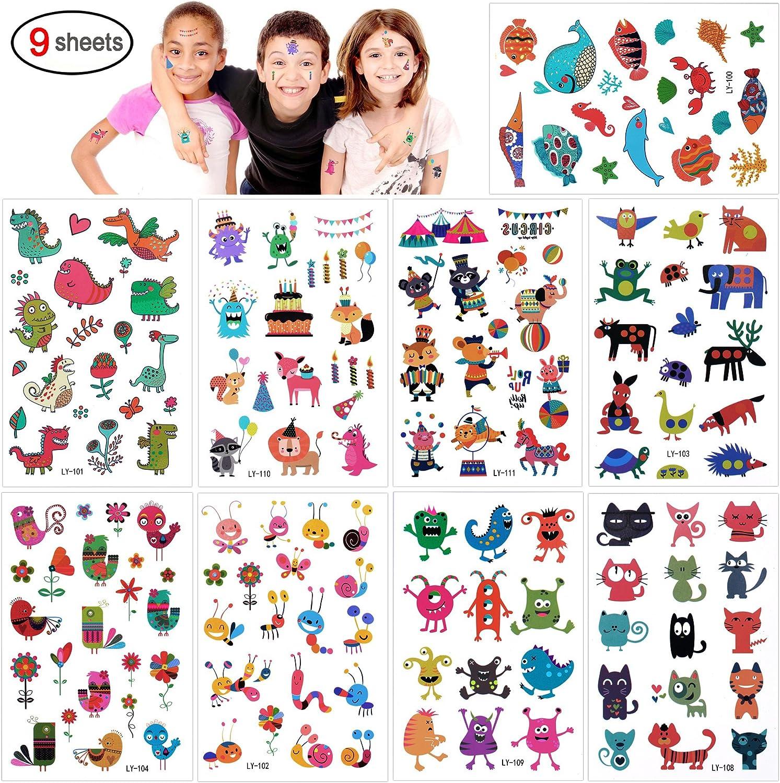 Konsait Tatuajes Temporales para Niños Niñas, 160pcs Dibujos Animados Animal Tatuaje Falso Pegatinas Flor Mariposa piñata Niños Infantiles Fiesta de cumpleaños Regalo Bolsas Relleno