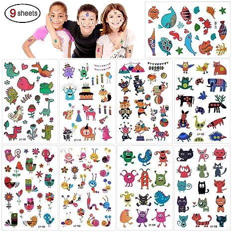5661435e8bc5e Konsait 160pcs Zoo Animal Temporary Tattoos For Children Kids Grils Boys, Fake  Tattoo Stickers Flower