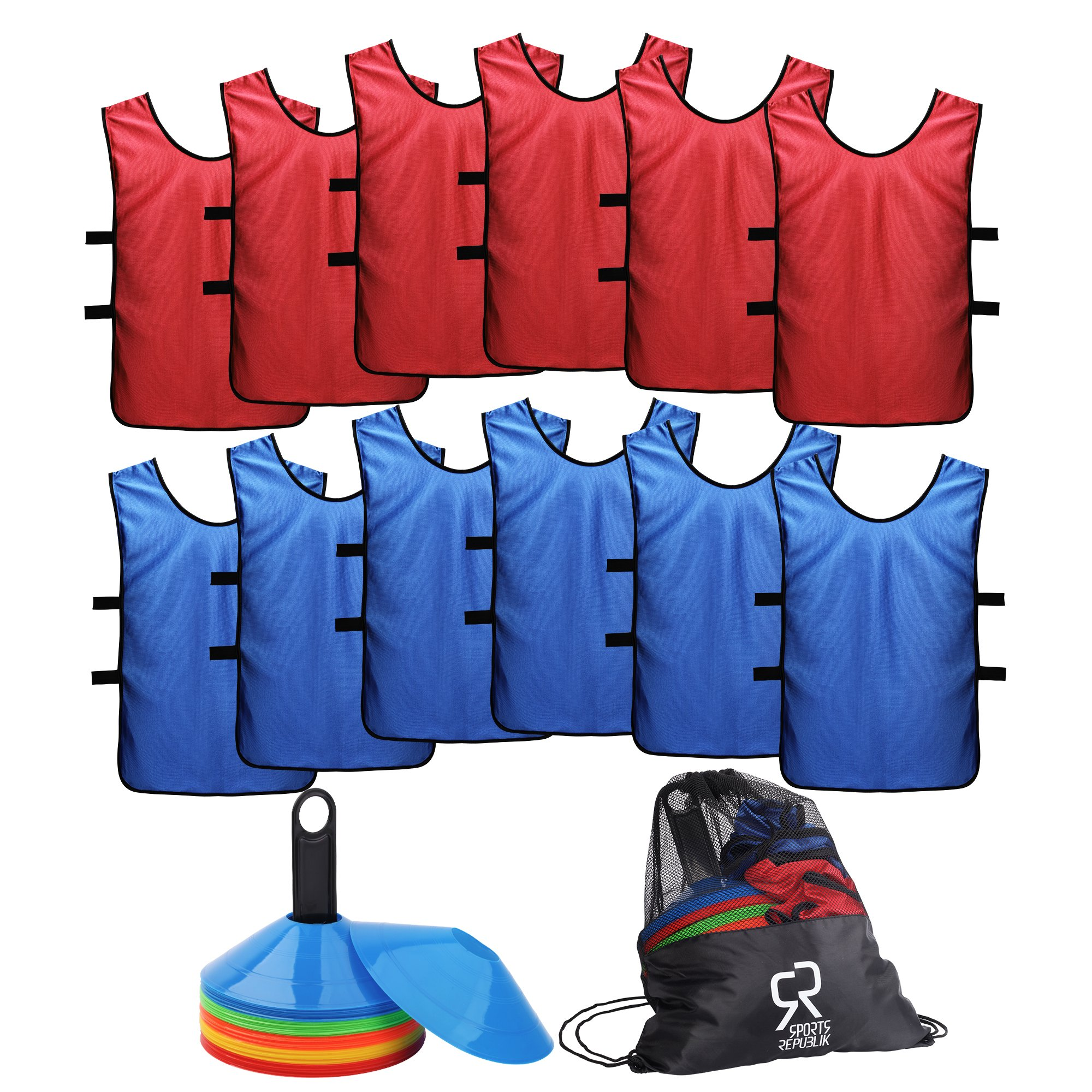 Soccer Cones (Set of 50) and Sports Jerseys Pinnies (12-Pack) - Perfect Disc Cones for Basketball Drills, Complete Soccer Training Equipment by SportsRepublik