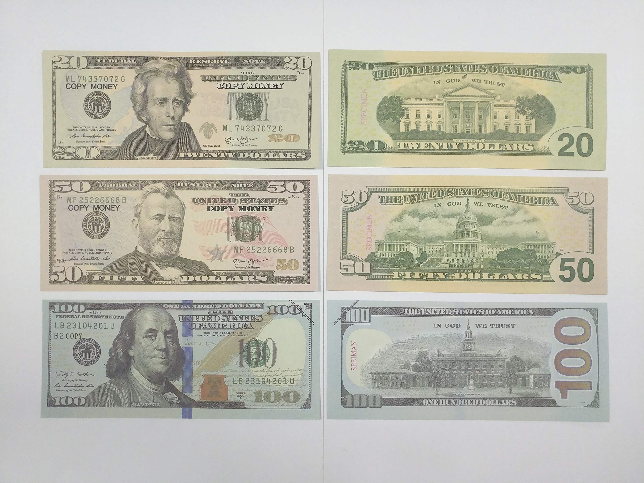 AL'IVER Fake Money Prop Money $6800 Copy Money Realistic Double Sided Money Stack $20,$ 50, $100 Bills Total 120 Bills Full Print Motion Picture Money … …